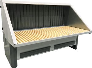 Electronic height adjustable downdraught bench