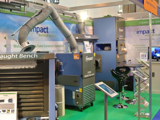 Exhibition stand displaying some of Impact Technical Services products
