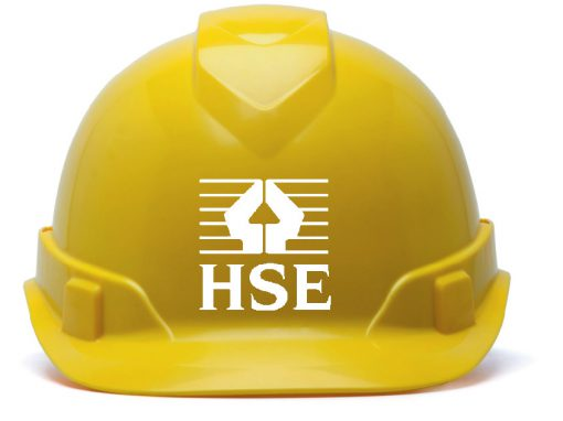 HSE inspection warning hard hat